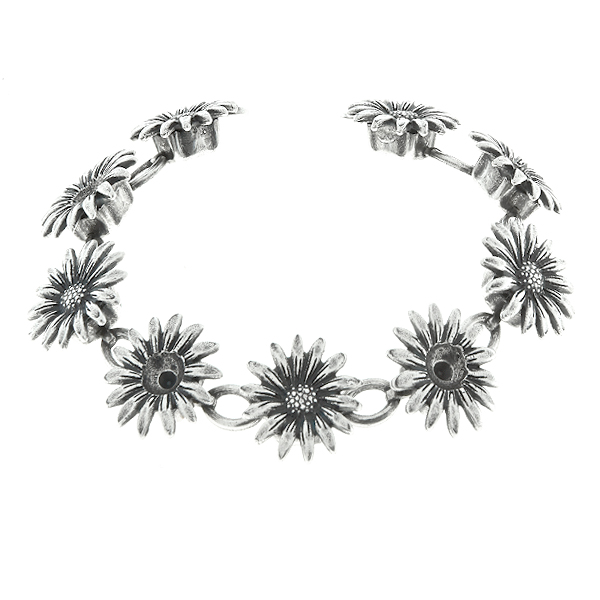 24ss Metal casting Forest Daisy Flower elements on Cup chain with oval connectors Bracelet base