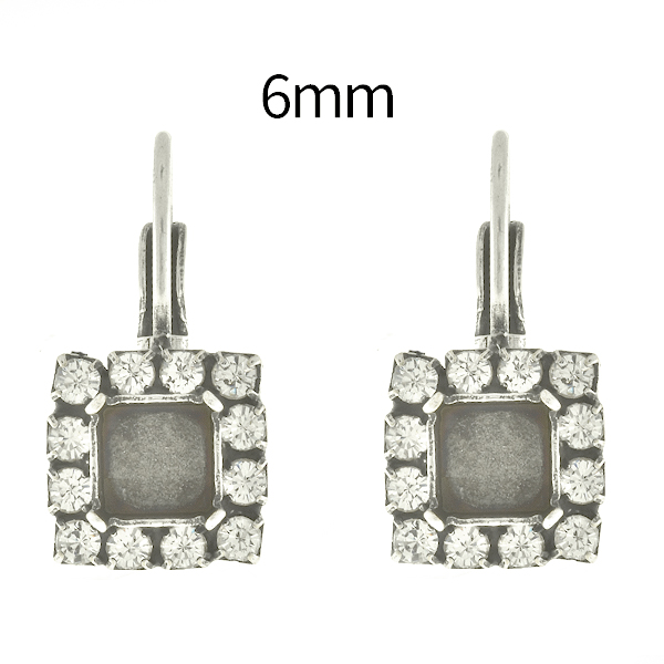 6mm Imperial SW4480 Square Lever Back Earring bases with SW Rhinestones