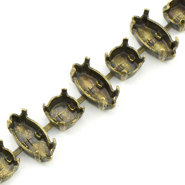 39ss, 15x7mm Navette Empty Cup chain for Bracelet 1 meter