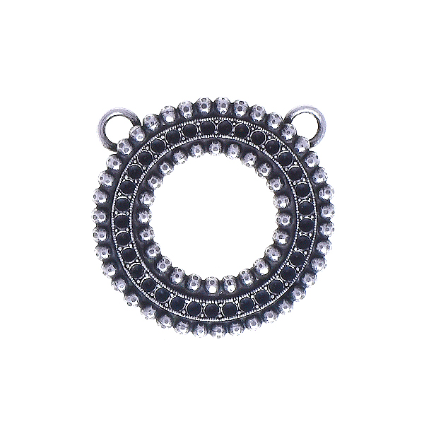 8pp Hollow circle metal casting element and two rows of Ball chain Pendant base with two top loops