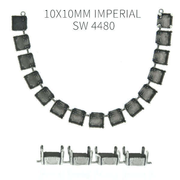 10x10mm Imperial SW 4480 empty Cup chain (15 settings) Centerpiece for Necklace base