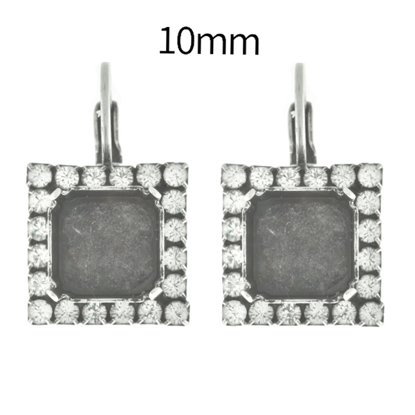 10mm Imperial SW4480 Square Lever Back Earring bases with SW Rhinestones