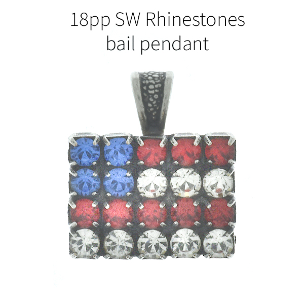 Flag of USA 18pp SW rhinestone pendant with thin bail
