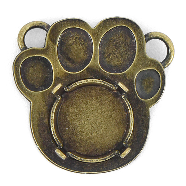 10mm Rivoli Paw Pendant base with two top side loops