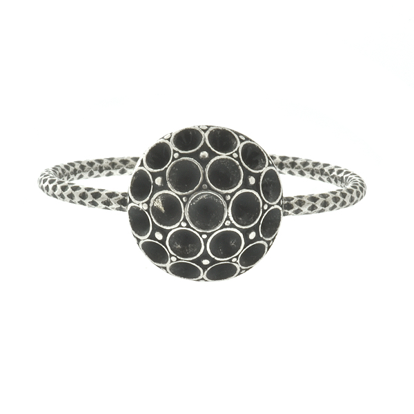 Metal casting decorative dome element for 14pp Swarovski Adjustable thin ring base