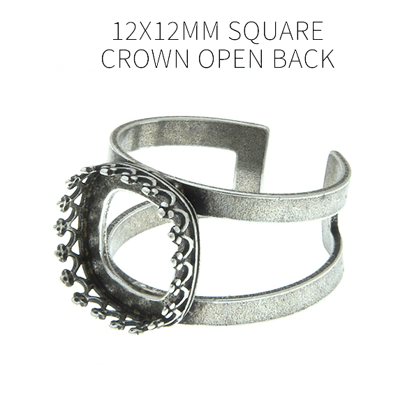 12x12mm Square Crown open back setting Double rows Adjustable ring base