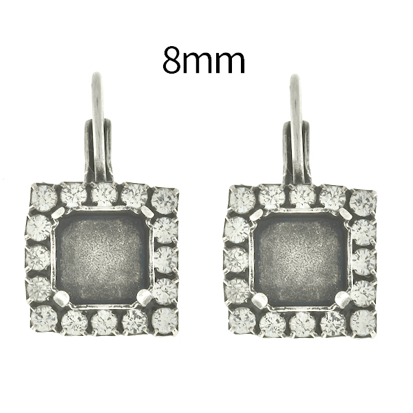 8mm Imperial SW4480 Square Lever Back Earring bases with SW Rhinestones