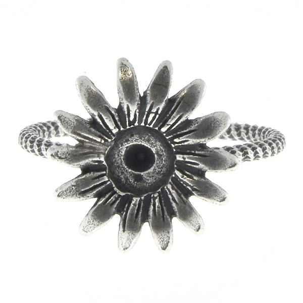 24ss Metal casting Forest Daisy Flower Adjustable ring base