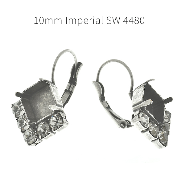 10x10mm Imperial SW 4480 square settings with 32pp SW Rhinestones Lever back Earring bases