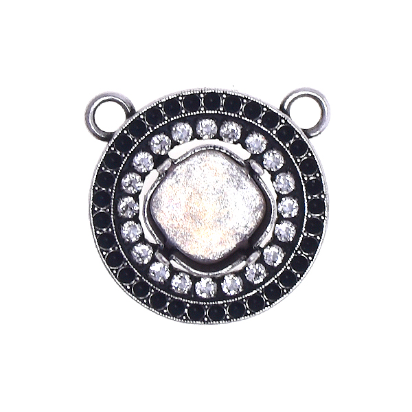 12x12mm stone setting with 8pp Hollow circle element and SW Rhinestone Pendant base