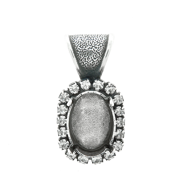 14x10mm Oval stone setting with SW Rhinestones Pendant base with bail