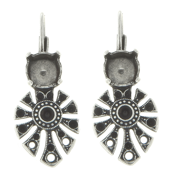 8pp, 14pp, 24pp Decorative Ethnic metal casting Elements with three holes and 39ss settings Lever Back Earrings