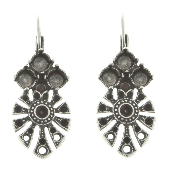 8pp, 14pp, 24pp Decorative Ethnic metal casting Elements with three holes and 24ss settings Lever Back Earrings