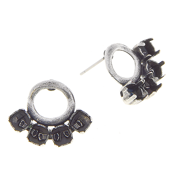 24ss Round stone settings with Hollow circle metal casting elements on Stud Earring bases