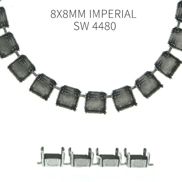 8x8mm Imperial SW 4480 empty Cup chain by meter for Necklace - 1 meter