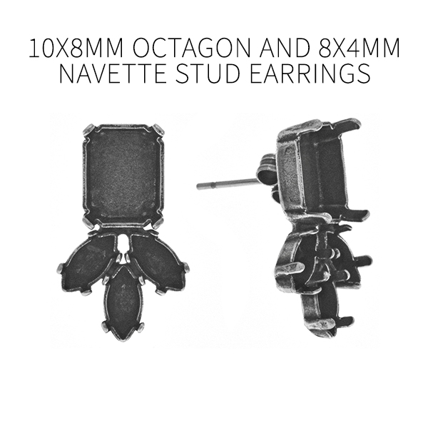 8x4mm Navette and 10x8mm Octagon Fancy stud earring bases