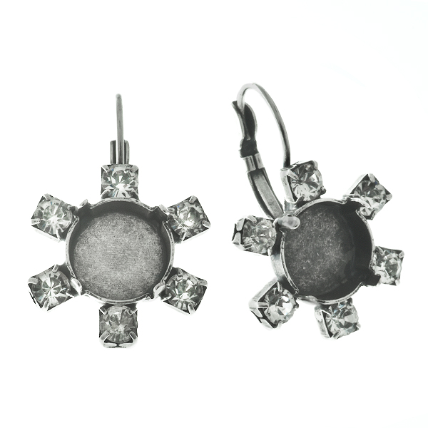 12mm Rivoli Leverback Earring settings with 32pp SW crystals