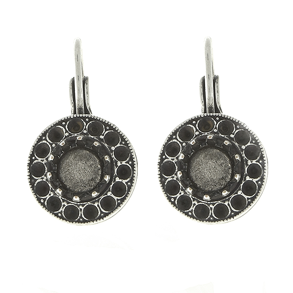Metal casting hollow circle elements for 8pp and 29ss crown settings Lever Back Earring bases