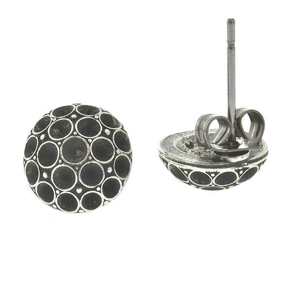 Metal casting decorative dome element for 14pp Swarovski Stud Earring bases