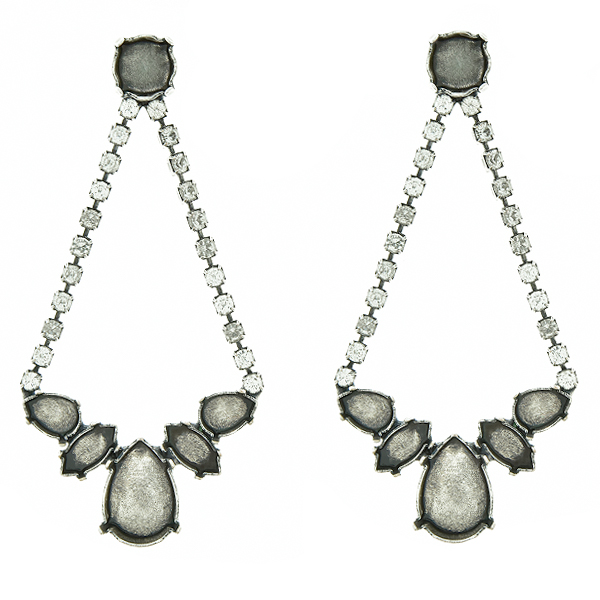 Mixed Size stone settings Stud Earrings with hanging SW Rhinestones