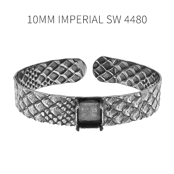 10mm Imperial stone setting Snake skin metal texture bangle bracelet base