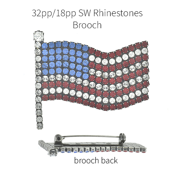 Flag of USA 18pp and 32pp SW Rhinestones brooch base