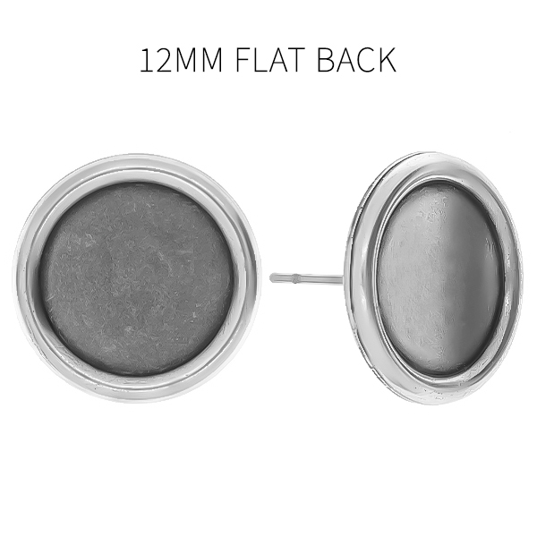 12mm Flat back stone setting stud Earring bases
