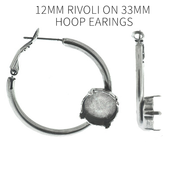 12mm Rivoli settings Mirror Reflection Hoop Earrings bases