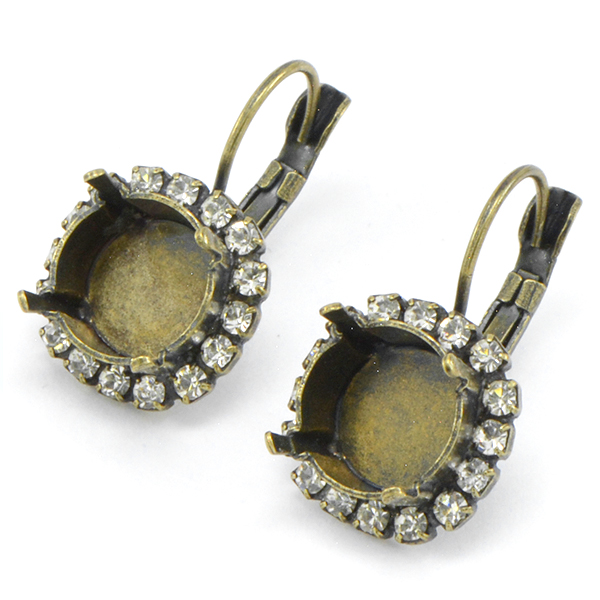 47ss Leverback Earring base with SW Rhinestone